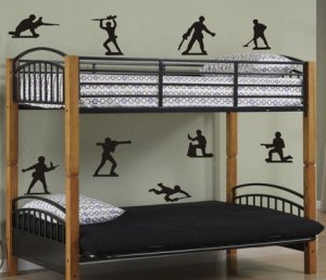 Army Men Decal Set Sticker Toy Toys Green Plastic Kids Kid Boy Teen War