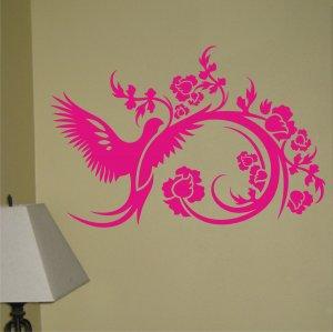 Bird and Flower Design beautiful decal sticker wall vinyl pretty cool