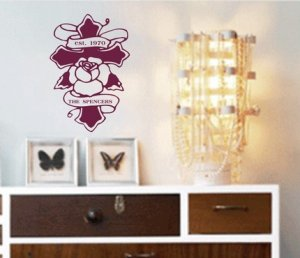 Custom Family Name on Cross Wall Decal Sticker Marriage