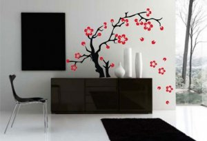 BIG Cherry Tree Decal Wall Sticker Art Sakura Flowers Asian Tattoo Graphic Home Decor
