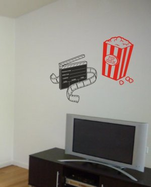 MOVIE CLIPBOARD AND POPCORN TV ROOM WALL DECAL STICKER HOME