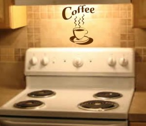 Coffee Cup Wall Decal Sticker Morning Breakfast Shop Home Decor Art