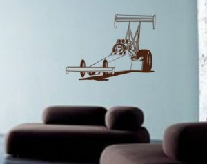 Dragster Wall Decal Sticker Funnycar Drag Racing Kids Room Boy Teen Fan
