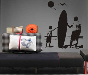 Boy and Dad with Surfboard Staring Into Ocean Sticker Wall Decal Art Beach Surfing Surf Vacation