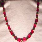 "Numbered Hand Crafted 26"" Mix Ruby ,Brass, Leaves, Star, Flowers Necklace. Price 24.95"