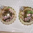 "2 Hand Decorated Glass Ornaments ""Merry Cmas"" written in script, Snow Flakes, Etc. Price: 2.95"