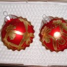 2 Decorated Glass Ornaments Ribbon and Bows painted in Gold Price: 2.95