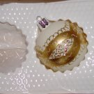 1 Hand Decorated Glass Ornaments Ribbon and Bows painted in Gold Price: 1.50