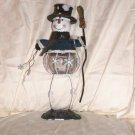 "Blown Glass Tealite Holder Snowman  Size: 13 1/2"" H x 4 3/4"" W x 4 1/4"" D  Price:9.95"