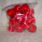 "20 Red Apples & Red Silk Covered Cmas Ornaments Size: 2 1/4"" H x  2 1/2"" Dia. Price: 4.95"