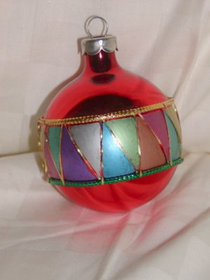 HandCrafted Red Glass Christmas Ball Ornament w/Clown Collar Design Price: 3.95