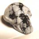 Hand Carved Snowflake Obsidian Skull