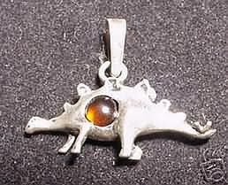 Honey BALTIC Amber Dinosaur Pendant Charm