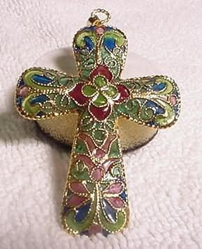 Plique A'Jour Cloisonne Cross