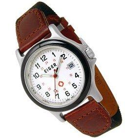 Mens Eiger 3 Atm White Calendar Dial Watch