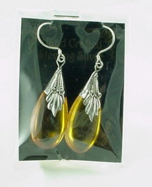 Honey Amber Sterling Silver Teardrop Earrings
