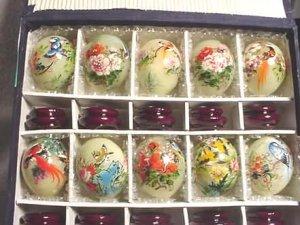 Handpainted Birds Flowers JADE Eggs (Set of 10)