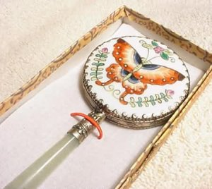 Hand Painted Butterfly on Porcelain Mirror