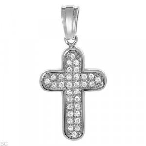 Large Sterling Silver Cross Pendant Cubic Zirconia 213
