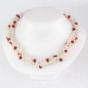 Genuine RED GARNETS BRIOLETTE Freshwater Pearl Necklace