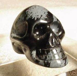Hand Carved Snowflake Obsidian SKULL