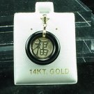 14K Gold Black Onyx FU Pendant Good Luck