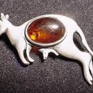 Baltic Amber Sterling Kangaroo Pin