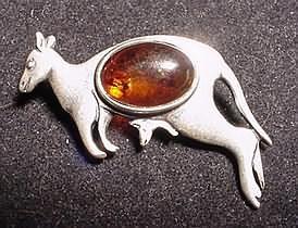 Baltic Amber Sterling Kangaroo Pin