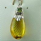 Honey Amber Sterling Silver Peridot Pendant