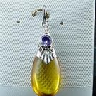 Honey Amber Sterling Silver Amethyst Pendant