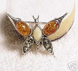 Tri Color Amber Sterling Silver Butterfly Pin