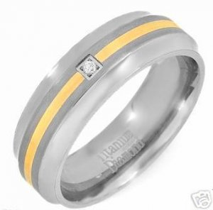 New Tutone TITANIUM  DIAMOND Wedding Band Ring  Size 10