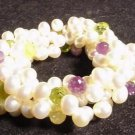 Genuine Gemstone Briolettes & Genuine Pearl Bracelet