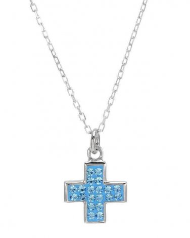 New CHATEAU D'ARGENT  Cross Necklace Genuine Crystals  Sterling Silver