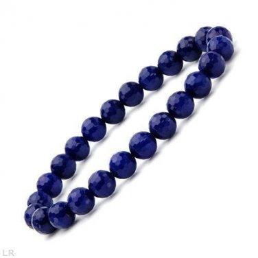New Genuine Cobalt Blue Sapphire Faceted Bead Bracelet