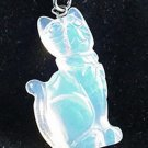 Hand Carved Opalite Cat Pendant Necklace