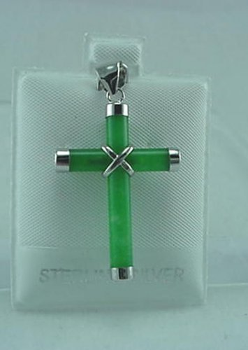 New Sterling Silver Jade Cross Pendant