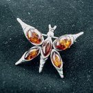 Baltic Amber Sterling Silver Butterfly Moth Pin Brooch