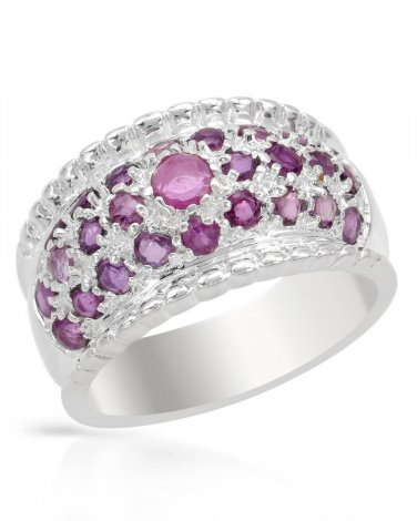 New Ring With 3.10ctw Genuine Rubies  925 Sterling Silver