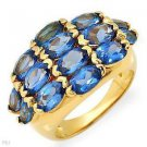 5.60ctw Genuine Topazes 14K/925 Gold plated Silver Ring