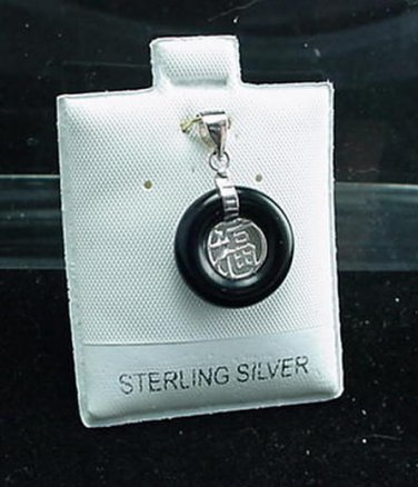 New Sterling Silver Black Onyx FU Pendant Small