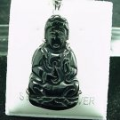 Sterling Silver Hand Carved Black Onyx  Kwan Yin Pendant