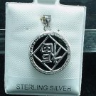 New Sterling Silver Black Onyx Upside Down FU Pendant