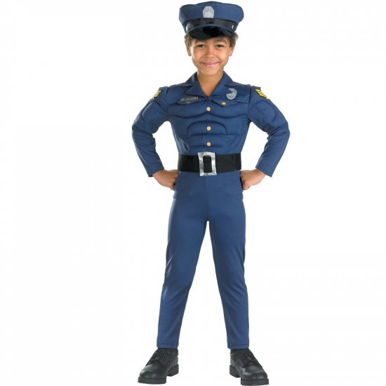 Boys 2-Pc Police Man Officer Halloween Costume Size Child Small 4-6 4T 5T Policeman