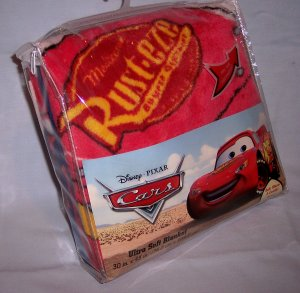"Disney Pixar Cars Lightning McQueen Super Soft Plush Toddler Blanket 30"" x 43"" New Throw"