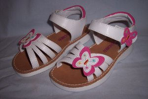 Rachel Butterfly White Sandals Shoes Girls Toddlers Size 10 New