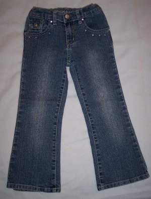 Girls Arizona Jean Co. Size 4 Boot-Cut Jeans Heart Embellished Back Flap Pockets