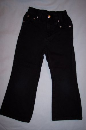 Girls Black Boot Cut Cotton Pants by Sprockets Size 4T