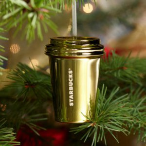 """New Starbucks 3"""" Gold Ceramic Mini To Go Cup 2012 Christmas Ornament FREE SHIPPING"""