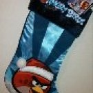 "17"" Angry Birds Red Bird in Santa Hat Blue Satin Christmas Stocking"